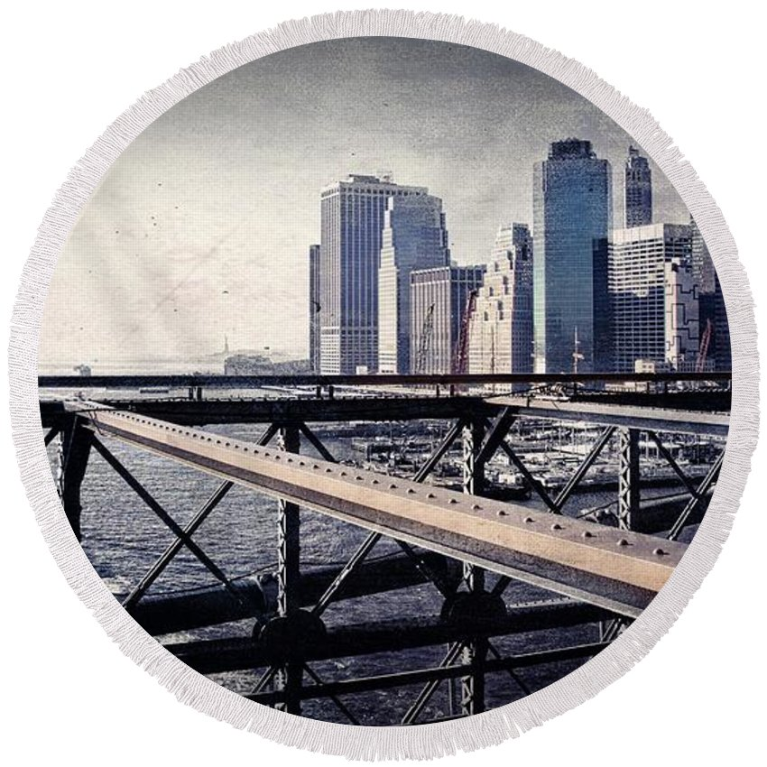 Alicegipsonphotographs Round Beach Towel featuring the photograph Under The Brooklyn Bridge by Alice Gipson