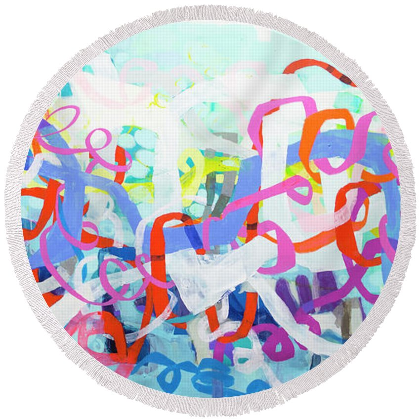 Abstract Round Beach Towel featuring the painting Under The Electric Candelabra by Claire Desjardins
