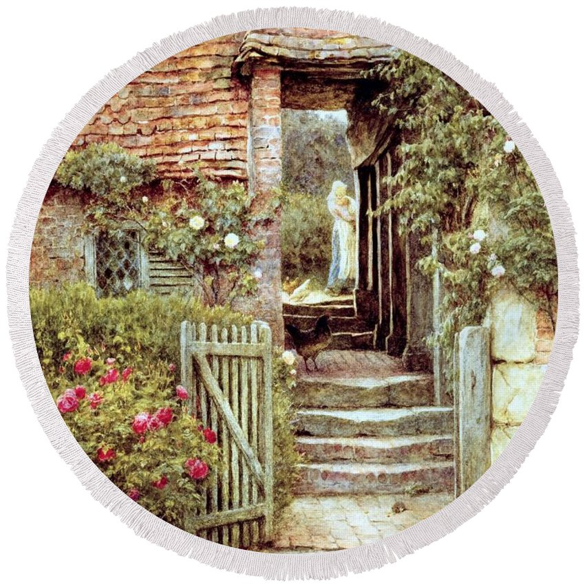Cottage Round Beach Towel featuring the painting Under The Old Malthouse Hambledon Surrey by Helen Allingham
