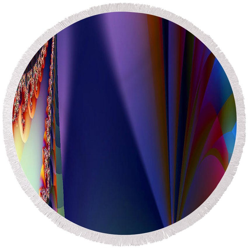 Clay Round Beach Towel featuring the digital art Under The Rainbow by Clayton Bruster