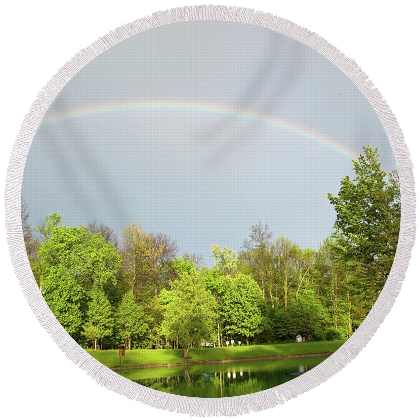 Rainbow Round Beach Towel featuring the photograph Under The Rainbow by David Arment
