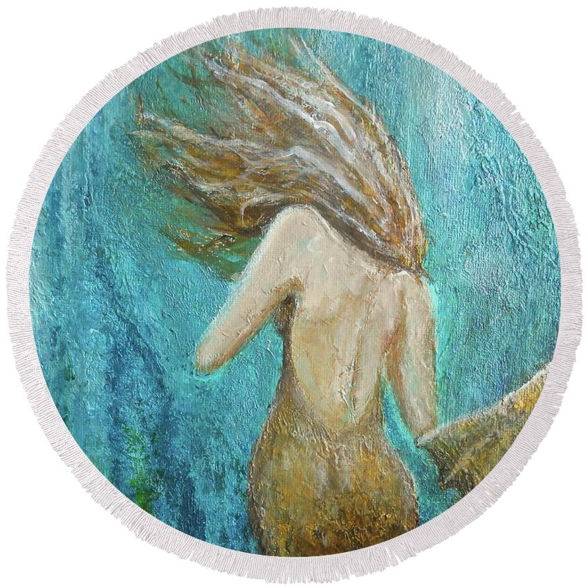 Mermaid Round Beach Towel featuring the painting Under The Sea by Nancy Q Studio