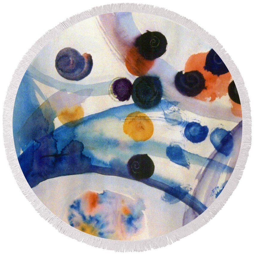 Abstract Round Beach Towel featuring the painting Under The Sea by Steve Karol