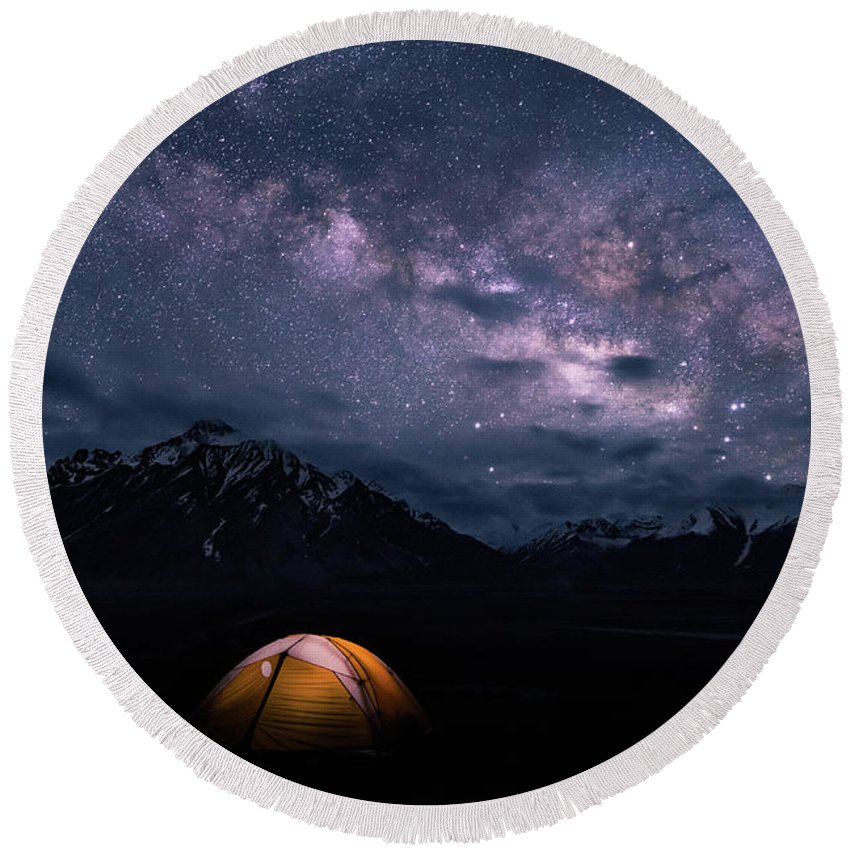 Landscape Round Beach Towel featuring the photograph Under The Stars by Siddhartha De