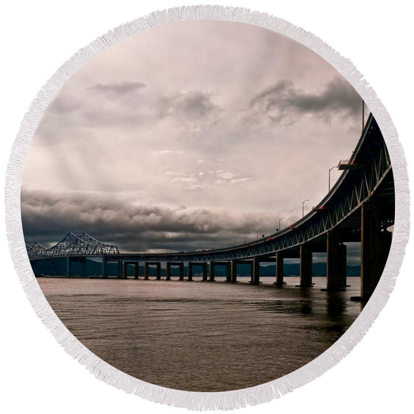 New York Round Beach Towel featuring the photograph Under The Tappan Zee by S Paul Sahm