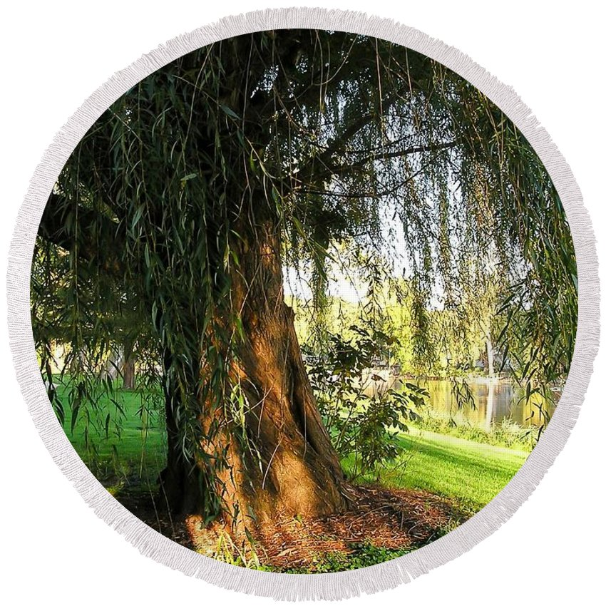 Under The Weeping Willow Round Beach Towel featuring the photograph Under The Weeping Willow by Cynthia Woods