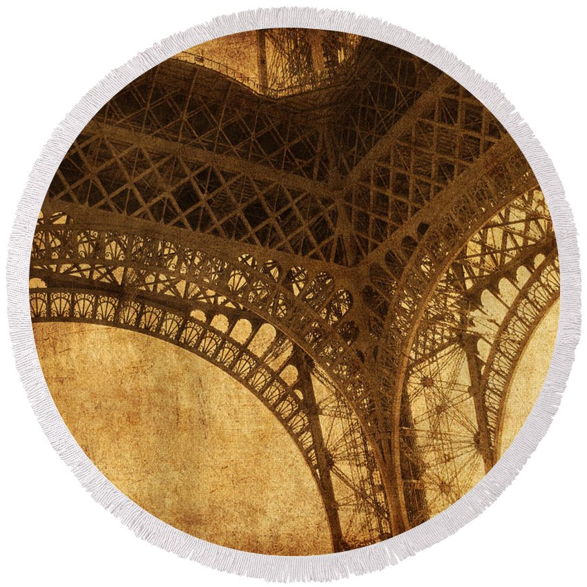 Eiffel Round Beach Towel featuring the photograph Under Tower by Andrew Paranavitana