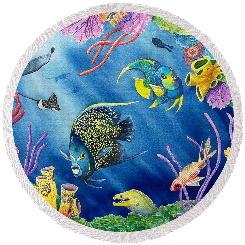 Undersea Round Beach Towel featuring the painting Undersea Garden by Gale Cochran-Smith