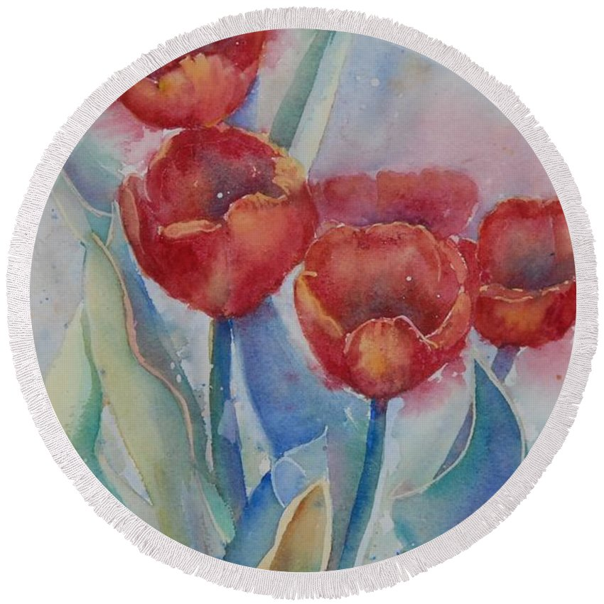 Flowers Round Beach Towel featuring the painting Undersea Tulips by Ruth Kamenev