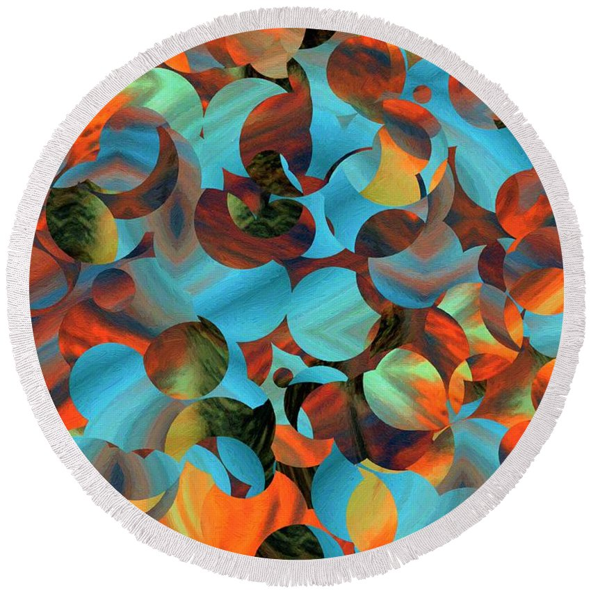 Abstract Round Beach Towel featuring the painting Underwater Fantasia by RC DeWinter