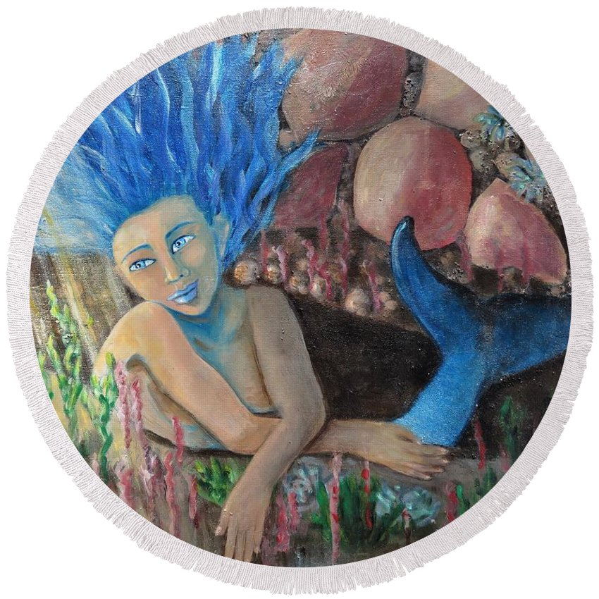 Mermaid Round Beach Towel featuring the painting Underwater Wondering by Laurie Morgan