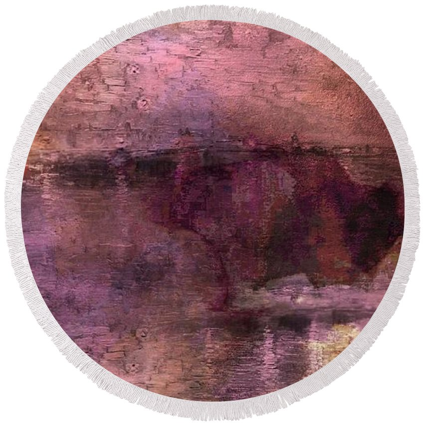 Abstract Round Beach Towel featuring the mixed media Unexpected Flight Into The Past by Lenore Senior