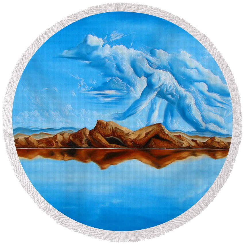 Surrealism Round Beach Towel featuring the painting Unfinished Business by Darwin Leon