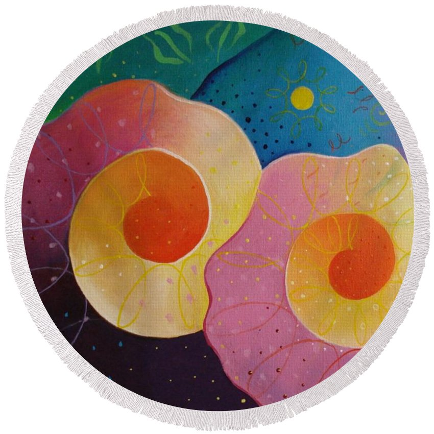 Universal Round Beach Towel featuring the painting Unfolding by Helena Tiainen