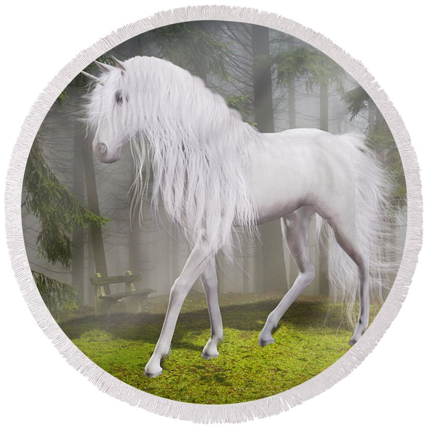 Unicorn Round Beach Towel featuring the digital art Unicorn In The Forest by Solomon Barroa