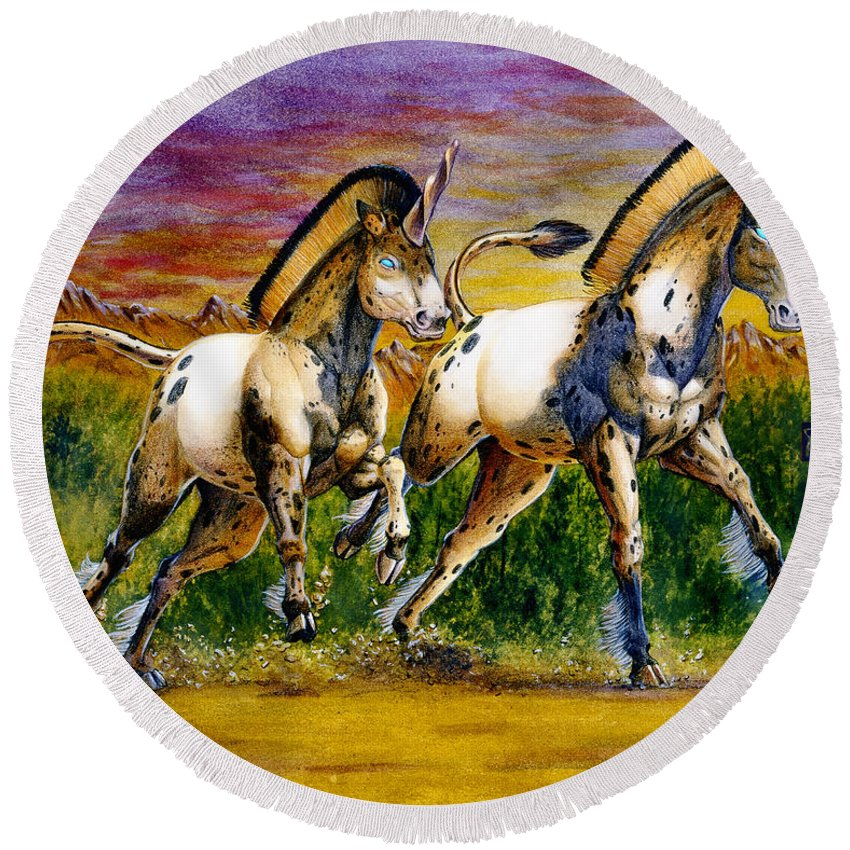 Artwork Round Beach Towel featuring the painting Unicorns In Sunset by Melissa A Benson