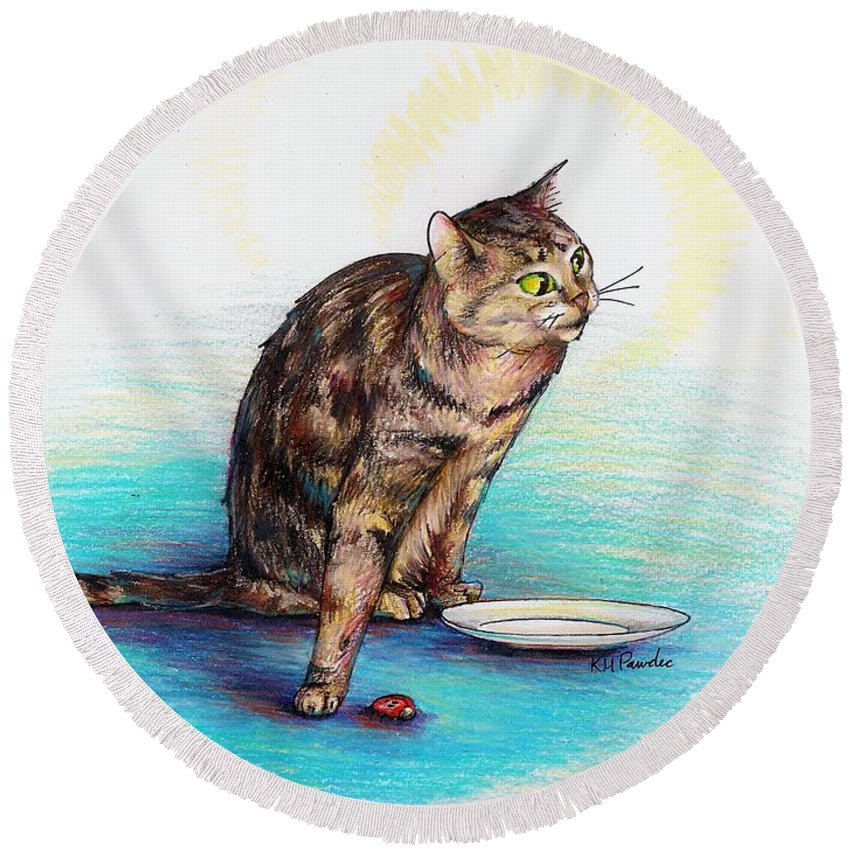 Cat Round Beach Towel featuring the drawing Uninvited Dinner Guest by K M Pawelec