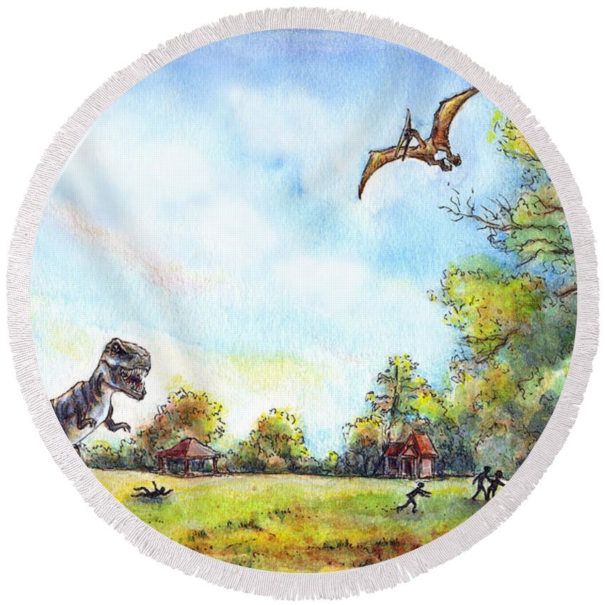 Dinosaur Round Beach Towel featuring the painting Uninvited Picnic Guests by Retta Stephenson