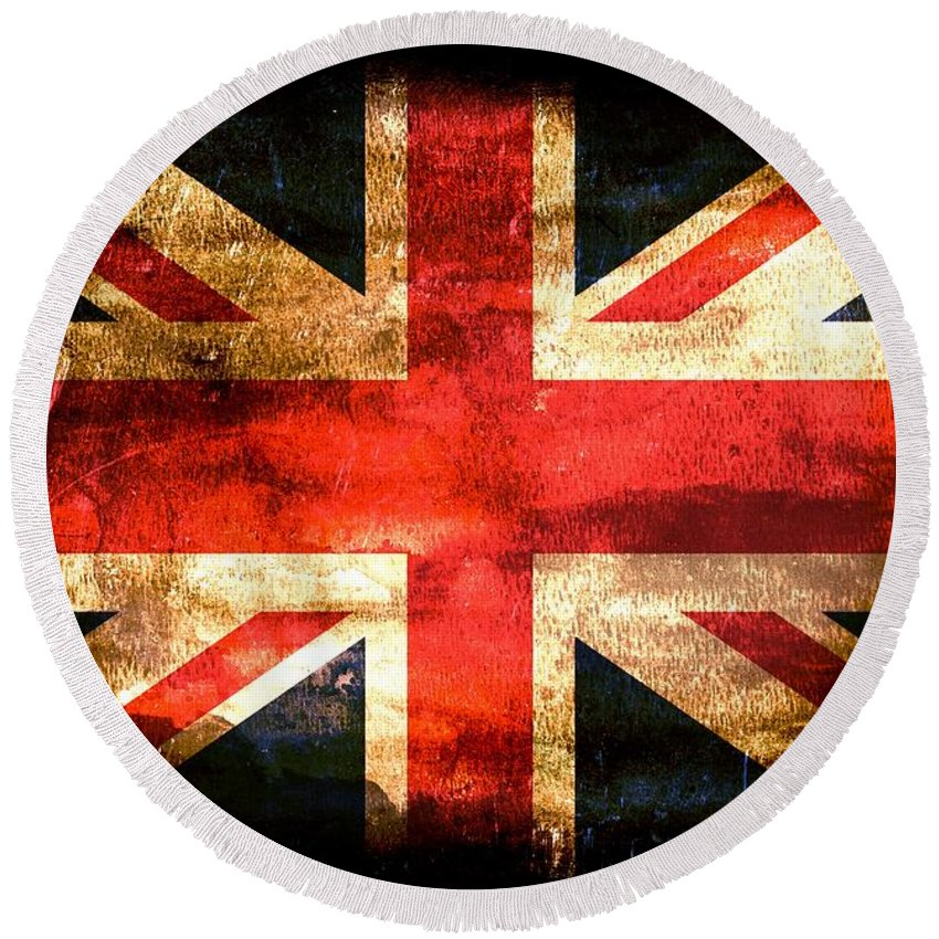 Flag Round Beach Towel featuring the painting Union Jack by FL collection