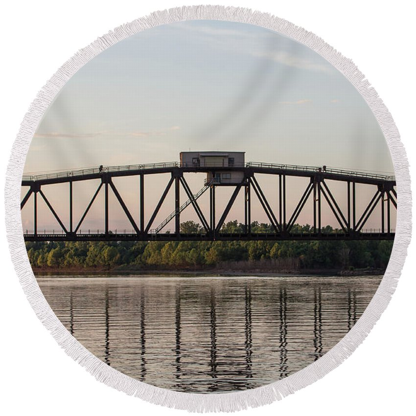 Ronnie Maum Round Beach Towel featuring the photograph Union Pacific Railroad Bridge by Ronnie Maum
