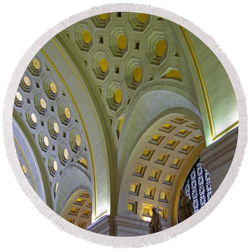 Washington Dc Round Beach Towel featuring the photograph Union Station Ceiling by Rich Walter