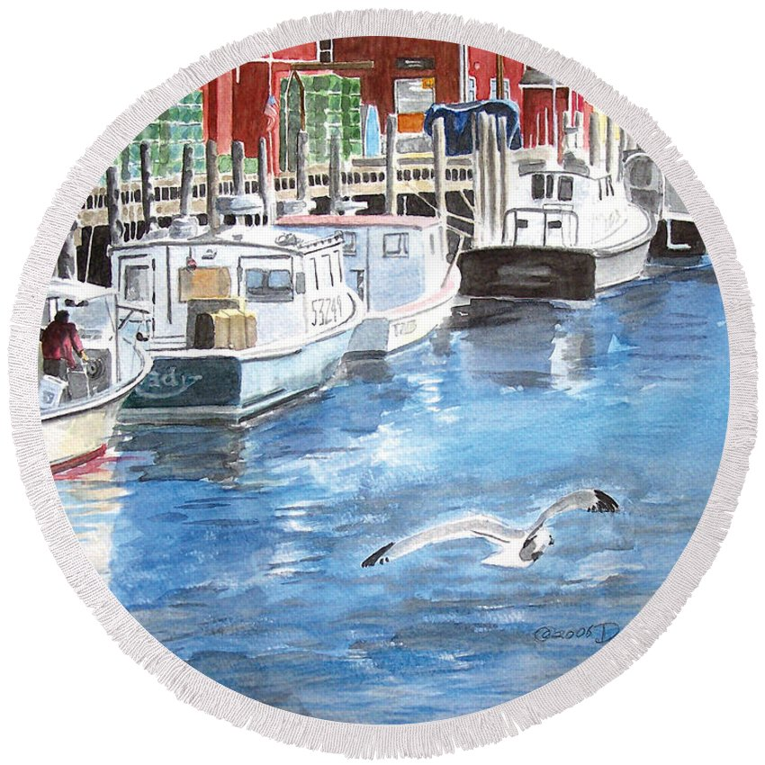 Seagull Round Beach Towel featuring the painting Union Wharf by Dominic White