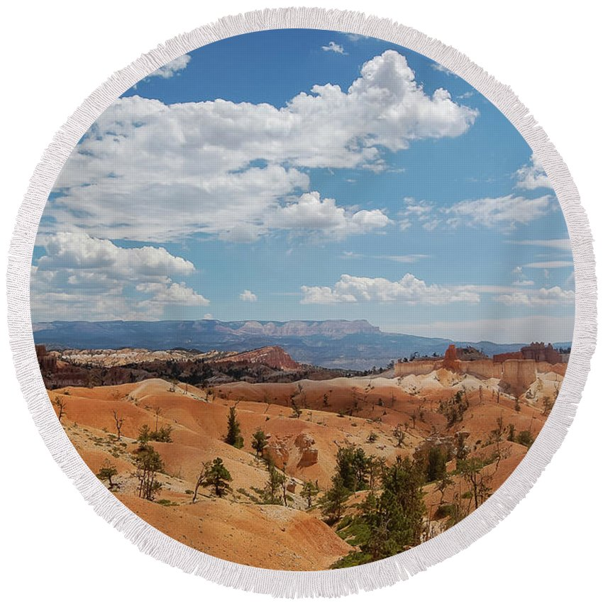 Bryce Canyon Round Beach Towel featuring the photograph Unique Landscape Of Bryce Canyon by Bob Cuthbert