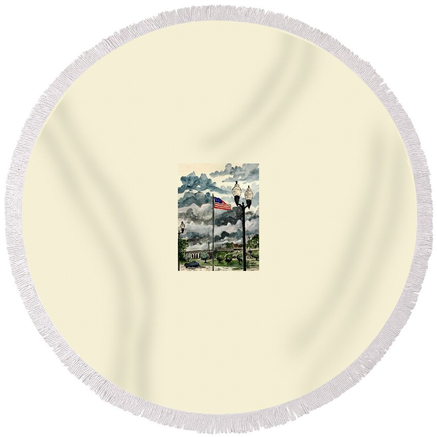 Usa Round Beach Towel featuring the painting United States Flag Over Alabama by Derek Mccrea