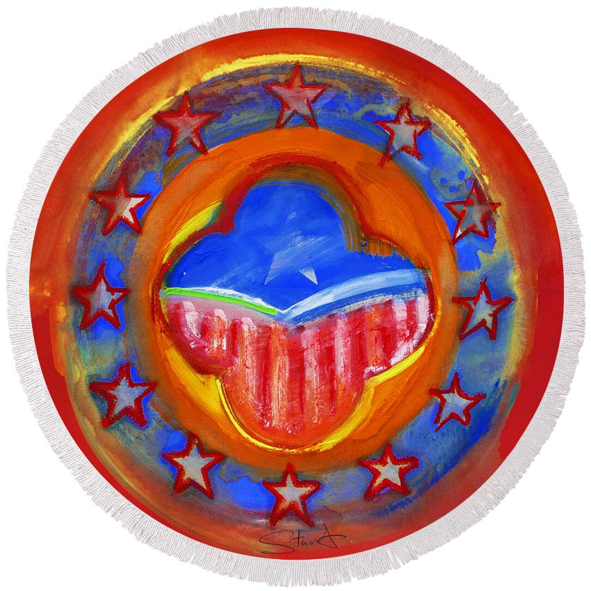 Symbol Round Beach Towel featuring the painting United States Of Europe by Charles Stuart