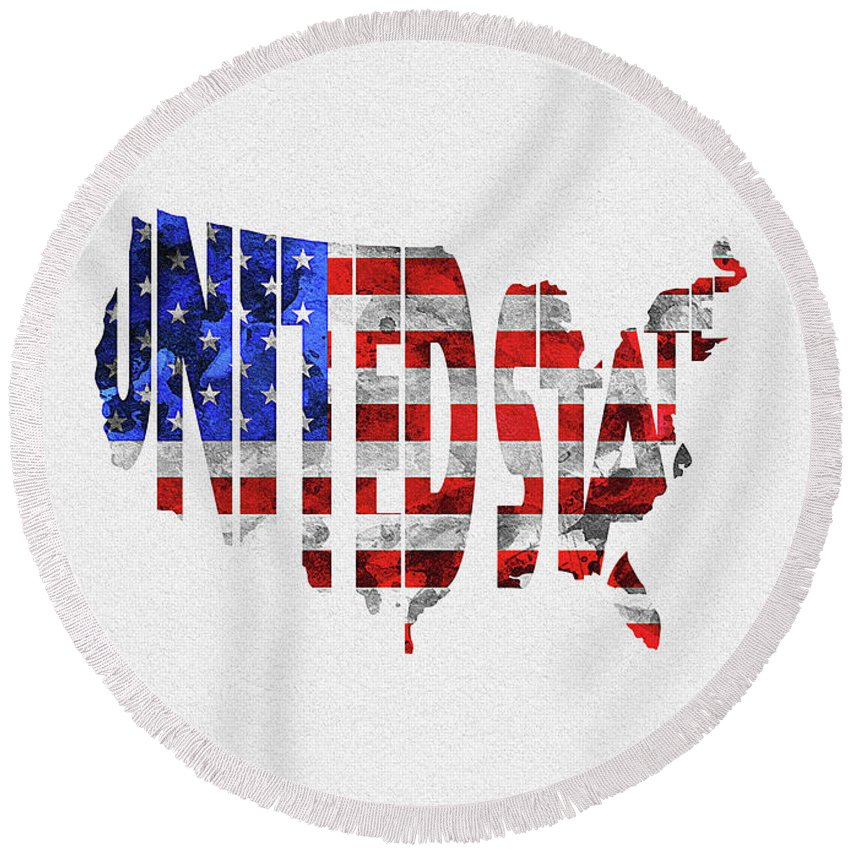 United States Round Beach Towel featuring the digital art United States Typographic Map Flag by Inspirowl Design