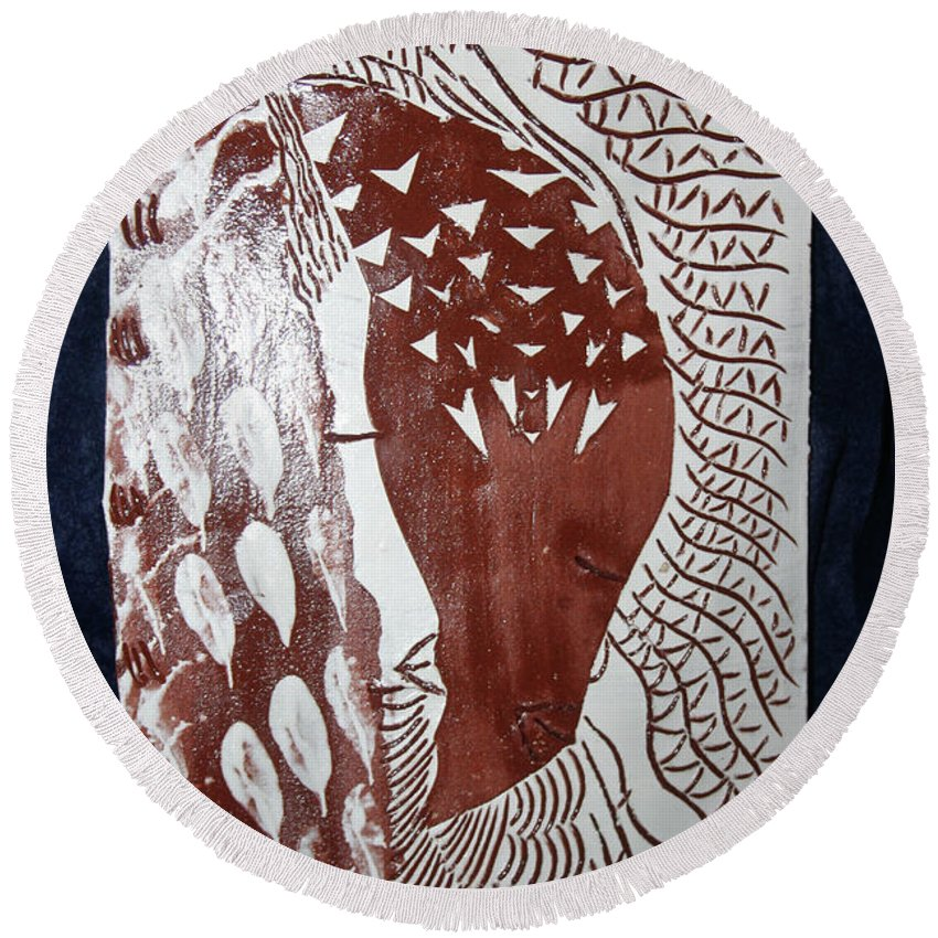Jesus Lambgloria Photosgloria Photospineapple2pineapple Round Beach Towel featuring the ceramic art Unity by Gloria Ssali