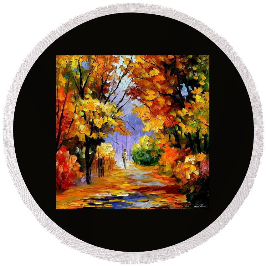 Afremov Round Beach Towel featuring the painting Unity With Nature by Leonid Afremov