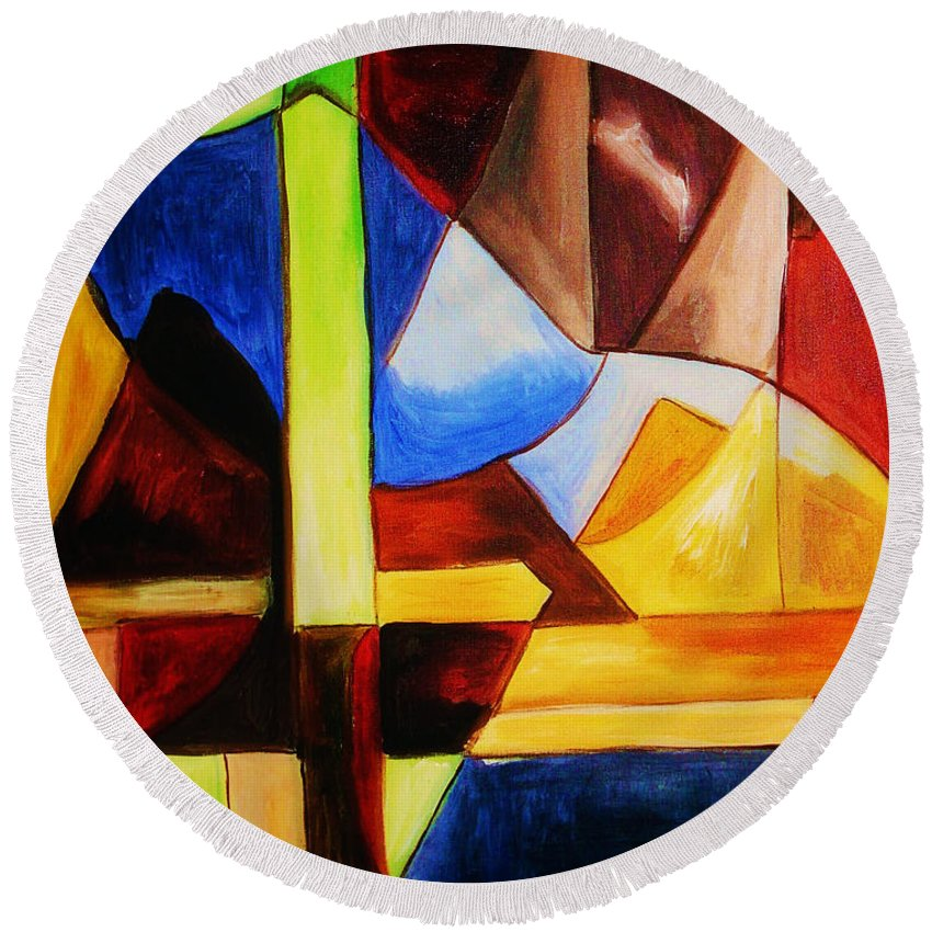 Acrylic Painting Round Beach Towel featuring the painting Unity by Yael VanGruber