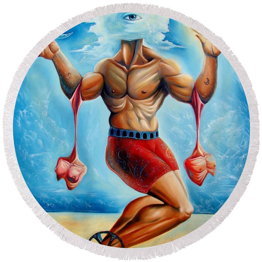 Surrealism Round Beach Towel featuring the painting Universal Acrobat by Darwin Leon