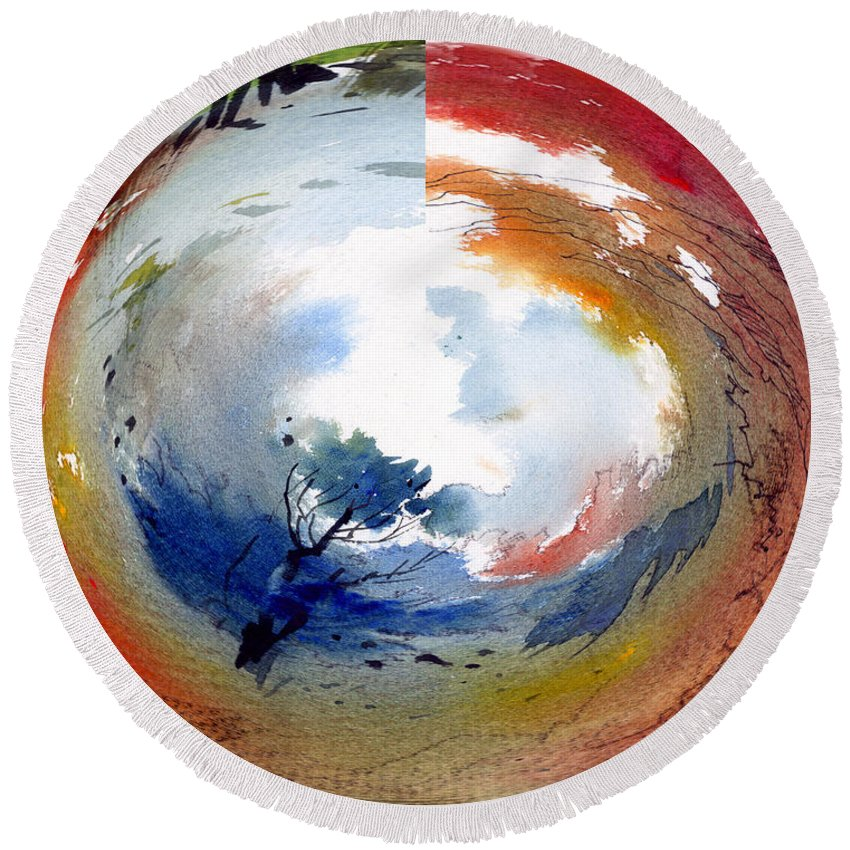 Landscape Water Color Watercolor Digital Mixed Media Round Beach Towel featuring the painting Universe by Anil Nene