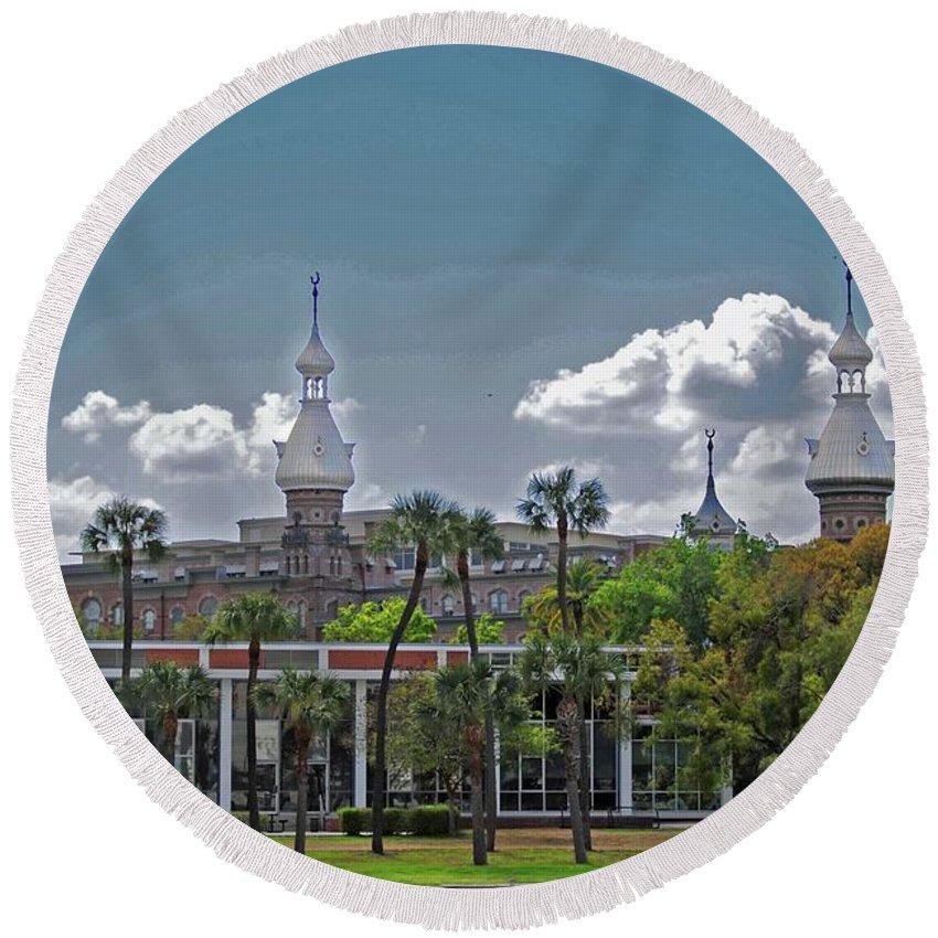 University Of Tampa Round Beach Towel featuring the photograph University Of Tampa by Jost Houk