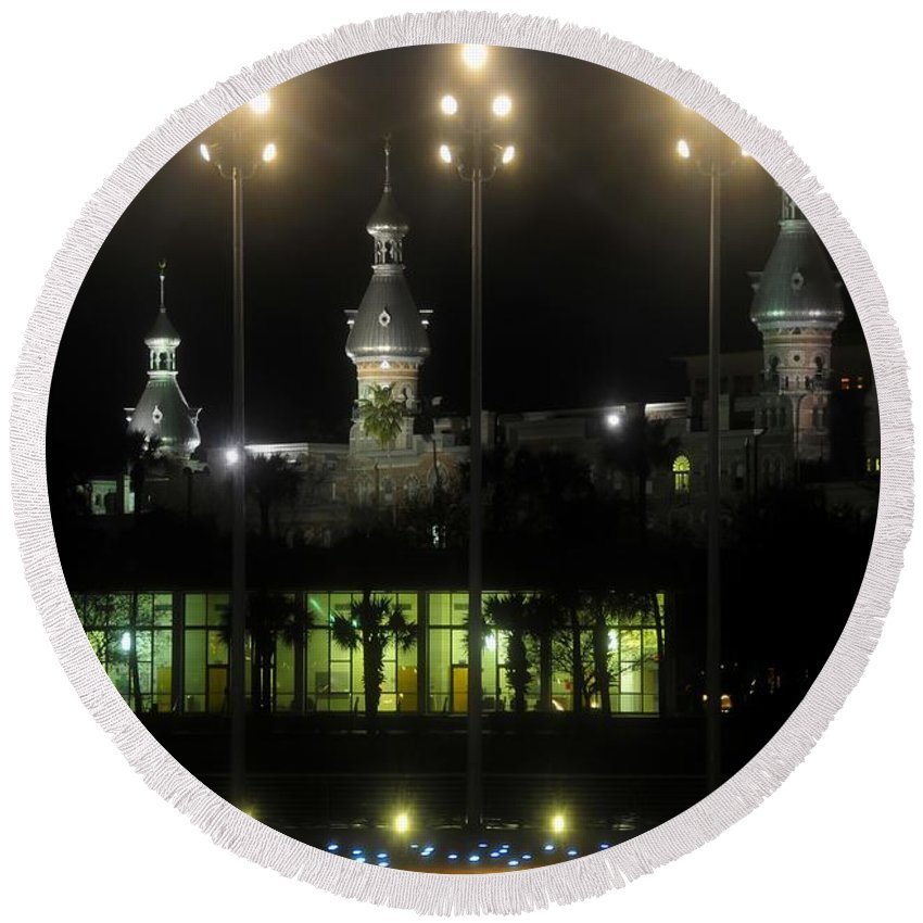 University Of Tampa Round Beach Towel featuring the photograph University Of Tampa Lights by David Lee Thompson