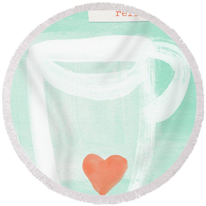 Tea Mixed Media Round Beach Towels