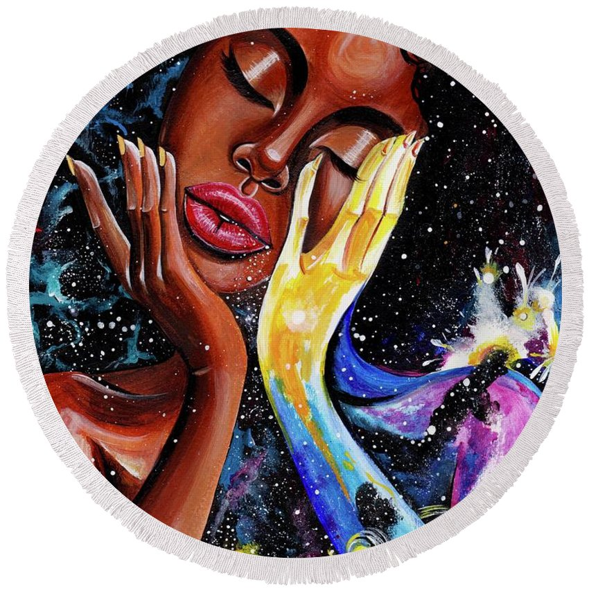Universe Round Beach Towel featuring the painting Unlocked U.Never.See.All by Artist RiA