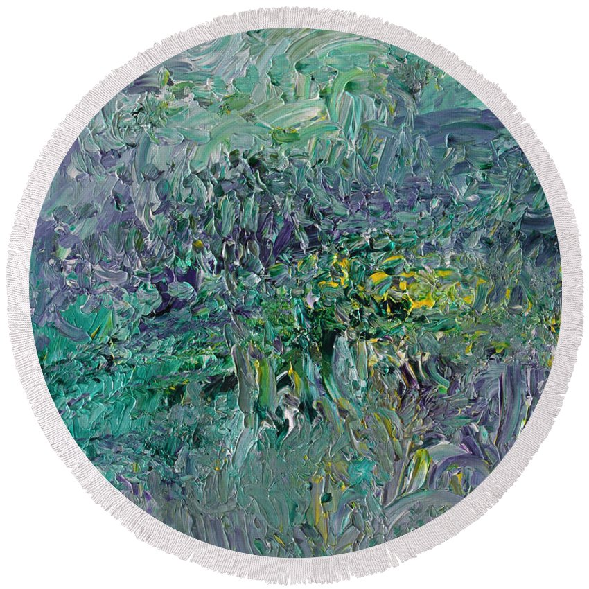 Fusionart Round Beach Towel featuring the painting Blind Giverny by Ralph White