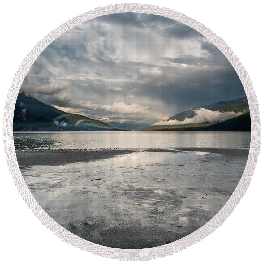 Landscape Round Beach Towel featuring the photograph Unsettled by Joy McAdams