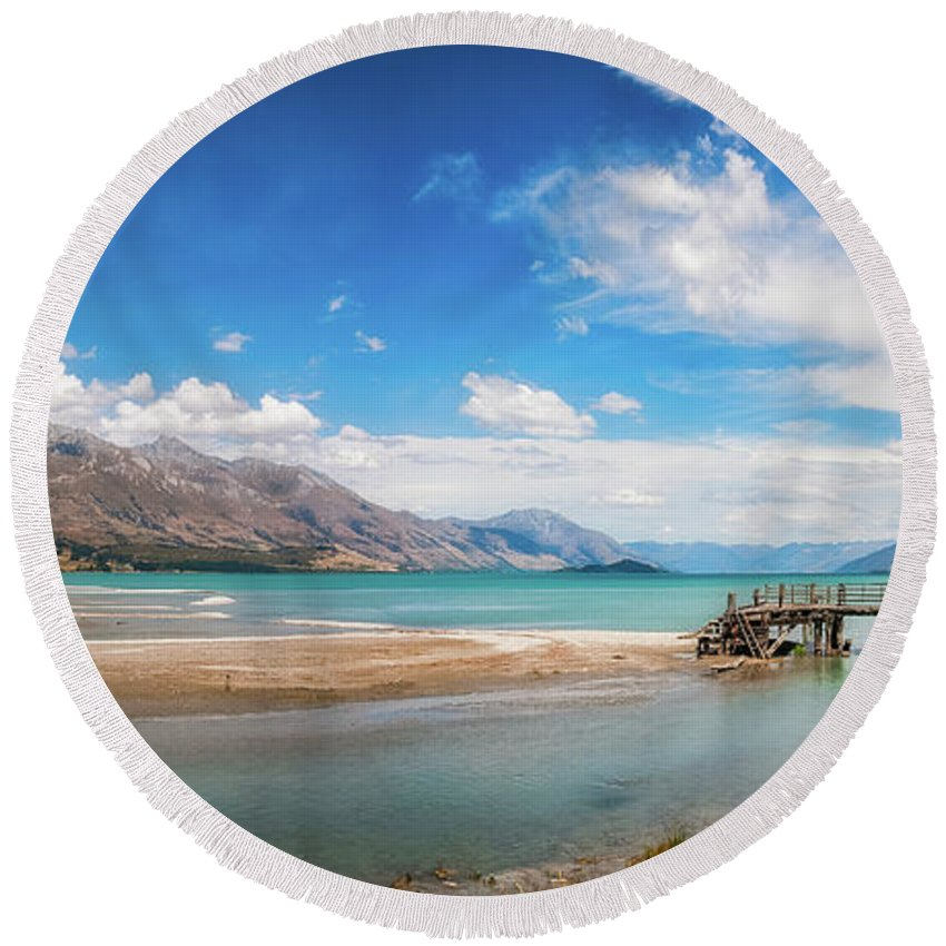 Alps Round Beach Towel featuring the photograph Unspoiled Alpine Scenery In Kinloch Wharf, New Zealand by Daniela Constantinescu