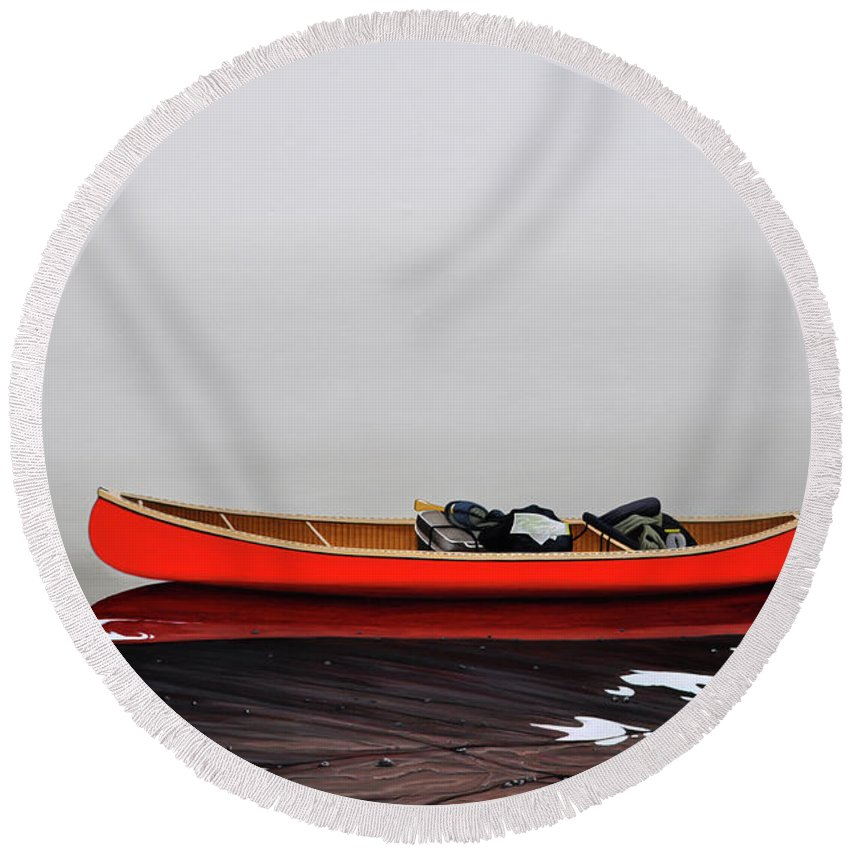 Landscape Paintings Round Beach Towel featuring the painting Until The Fog Lifts by Kenneth M Kirsch