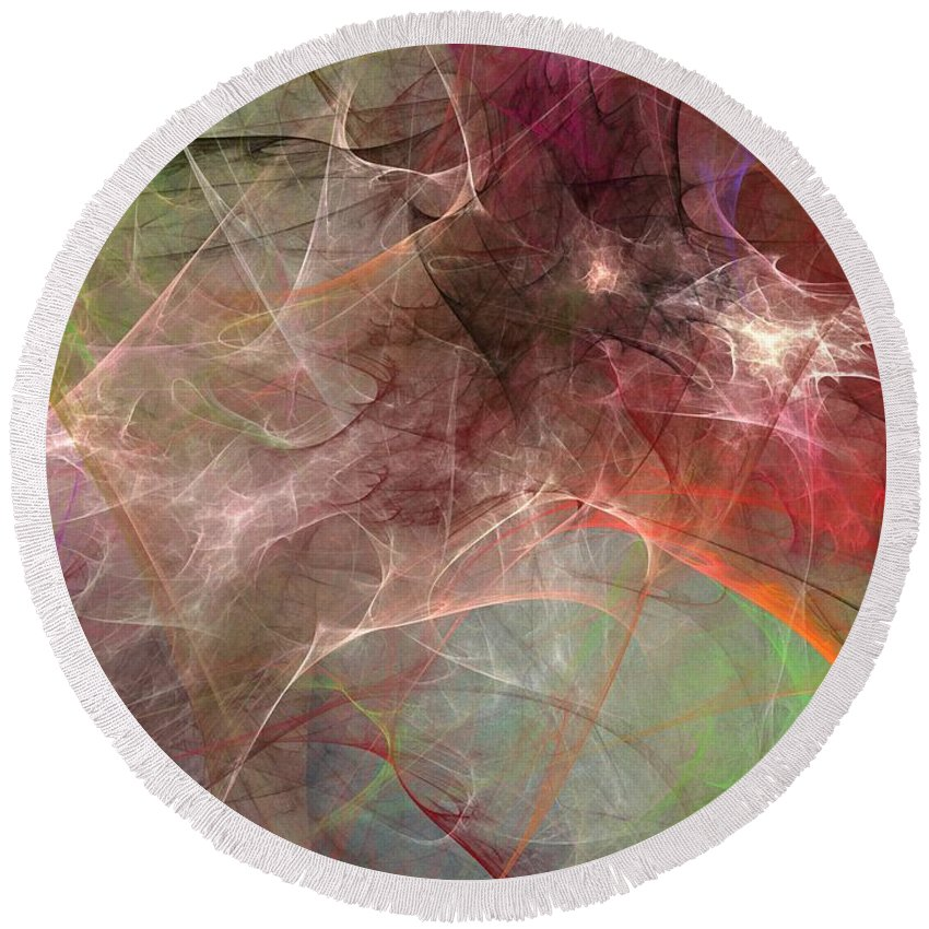 Digital Painting Round Beach Towel featuring the digital art Untitled 02-04-10 by David Lane