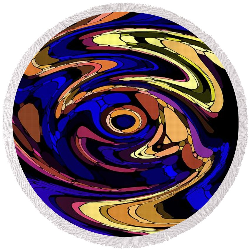 Abstract Round Beach Towel featuring the digital art Untitled 7-04-09 by David Lane