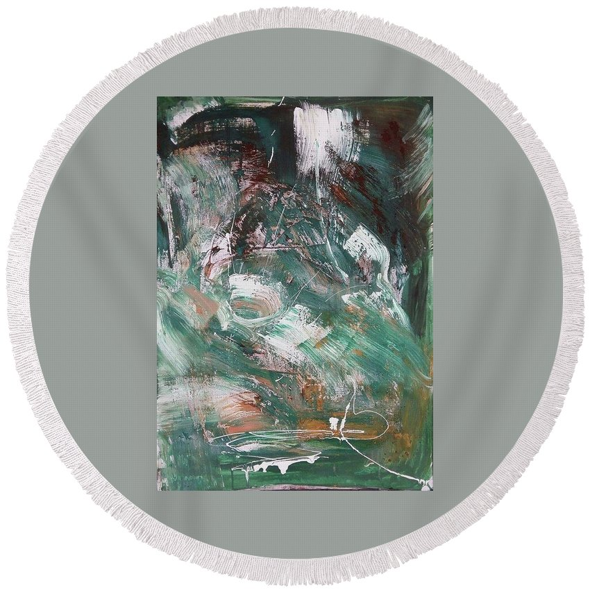 Mixed Media Round Beach Towel featuring the painting Untitled by Eleni Papakonstanti