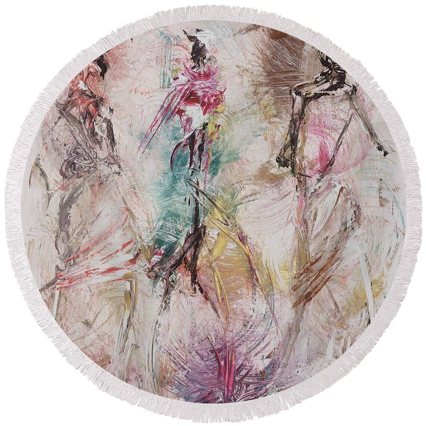 Abstract Round Beach Towel featuring the painting Untitled by Ikahl Beckford