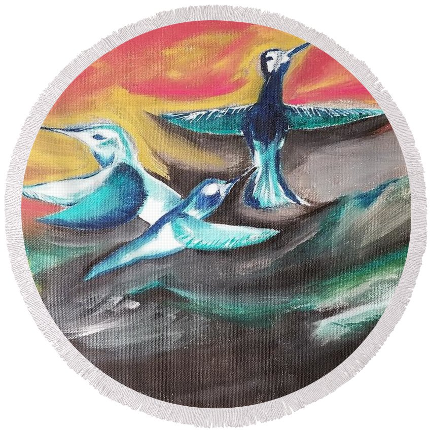 Bird Round Beach Towel featuring the painting Untitled by Jessica Cyrul