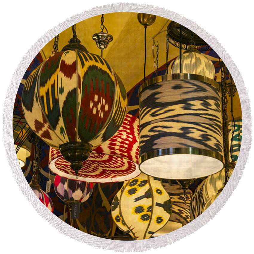Grand Bazaar Istanbul Turkey Lights Light Stall Stalls Shop Shops Lamp Lamps Fixture Fixtures Market Markets Round Beach Towel featuring the photograph Unusual Light Fixtures by Bob Phillips