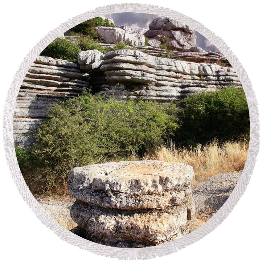 Limestone Round Beach Towel featuring the photograph Unusual Rock Formations In The El Torcal Mountains Near Antequera Spain by Mal Bray